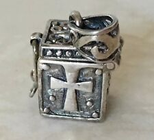Vintage Sterling Silver Christian Holy Cross Prayer 3D Box Pendant Charm