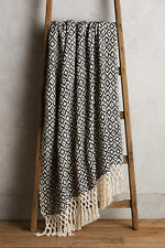 NEW Anthropologie Diamond Weave Throw Blanket  Black White