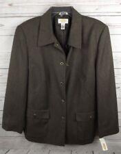 New Talbots Wool Blazer Jacket Size 12W 12 W Brown Metal Turn Key Buttons