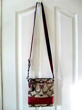 NEW Coach RED w/ TAN Signature Crossbody / Messenger / Swing Pack Bag / Purse