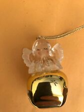 Handmade 1 Of A Kind Christmas Ornament Angel On Top Of A Gold Bell