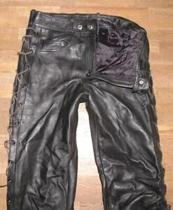 "Long Men's Lace-Up Leather Jeans / Biker Trousers IN Black Approx. W30 "" / L35 """