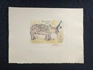 Salvador Dali Rhinoceros Surrealism Drypoint Etching Plate Signed