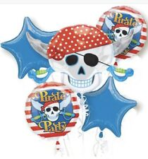 Set Of Five Pirate Party Birthday Mylar Balloons Bouquet From Anagram New!