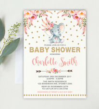 Pink Gold Boho Elephant Baby Shower Invitation Confetti Jungle Girl Party Invite