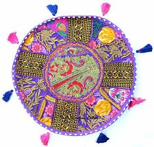 "New Purple 17"" Round Floor Cushion Cover Pillow Throw Tapestry Indian Home Decor"