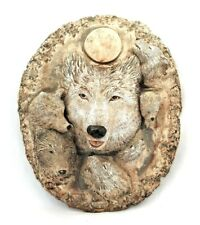 """Wolf Wolves Faces Wall Hanging Solid Concrete Cement Garden Yard Art 10.75"""" h"""