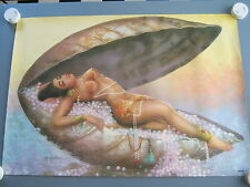 Retro Vintage Exotic Indian Lady  Nude Poster Print, J H Lynch era.Pearl Shell
