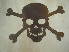 FREE SHIPPING Rustic Rusted Metal Skull and Cross Bones Sign Wall Hanging