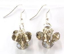 Smokey Crystal Glass Dropper Fashion Earrings