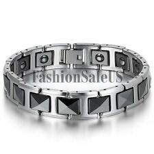 Men's Silver Tungsten Carbide Black Ceramic Magnet Charm Health Bracelet Chain