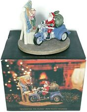 Vtg Harley Davidson Santa Mini Plate Figurine Reviewing the Plans 1996 Christmas
