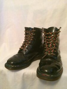 DR MARTENS 1460 MADE IN ENGLAND BLACK RAINBOW PATENT LEATHER BOOTS UK7 EU40 US9