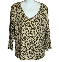 Chico's Women's 3/4 Sleeve Rayon Animal Print Stretch Tan Knit Top V Neck Size 2