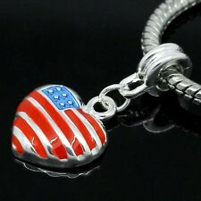 Enamel Heart American Flag Charm Bead For European Charm Bracelets