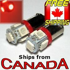 2x BA9S (T4W) Type RED LED Bulbs - 5x5050 Chips - 12v