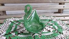 Vintage  Green Glass Swan Candy Dish / Trinket Holder Figurine