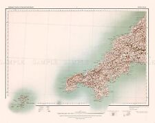 MAP ANTIQUE 1902 OS UK CORNWALL SCILLY ISLES LARGE REPLICA POSTER PRINT PAM0398