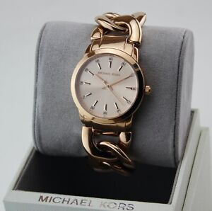 NEW AUTHENTIC MICHAEL KORS ELENA ROSE GOLD CHAIN TWIST WOMEN'S MK3609 WATCH