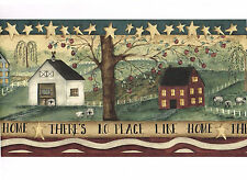 THERE'S NO PLACE LIKE HOME Primitive Country Farm Apple Tree Wall paper Border