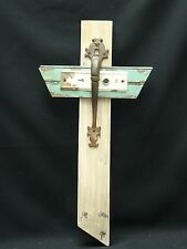 "FABULOUS OUTSIDER ART CROSS CRUCIFIX SCULPTURE ""KNOCKING ON HEAVEN'S DOOR"" ~24"""