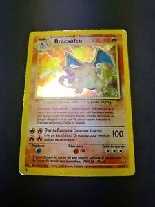 Carte Pokemon RARE HOLO Dracaufeu - Charizard Set de base 4/102 1999 FR Played