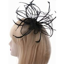 NEW Black looped fabric feather fascinator comb wedding races ascot prom ball