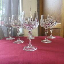 6 verres  à vin rouge en cristal Daum vannes le châtel modèle a définir H 14,7