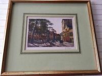 """Colored Small Etching Landscape Print, Signed, Framed, 6 1/2"""" x 4 1/2"""" (Image)"""