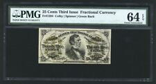 """25 Cents Fractional Currency Fr-1294 Certified Pmg """"Choice Uncirculated-64-Epq"""""""