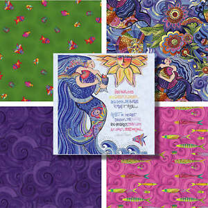 SEA GODDESS COTTON FABRIC RANGE By Laurel Burch * Quilting Craft Dressmaking
