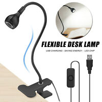 Flexible LED Lamp Reading Light Laptop Computer Clip-On Beside Bed Desk Table US