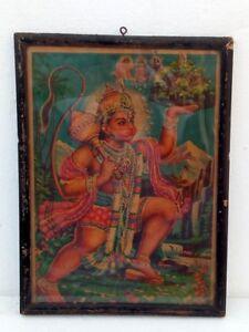 Vintage Hindu God Hanuman Litho Print Old Original Hindu God Bajrangbali Print