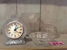 Vintage Pressed Glass Job lot Quartz Clock, Trinket Dishes And Rose Pressed Vase