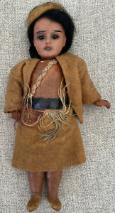 """Antique Armand Marseille 7"""" Indian Doll Bisque Head Compo Body MH 200"""