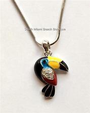 Silver Crystal Toucan Necklace Pendant Enamel Tropical Bird Parrot USA Seller