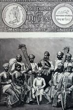 Jhallawur India 1877 MAHARAJ RANA w Suite Elders Matted Antique Engraving Print