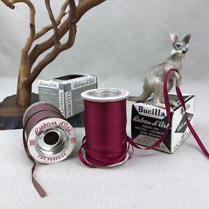 "Ruban d'Art Vintage Taffeta Ribbon  3/16"" ~ Antique Red Bucilla, Bronze Nomotta"