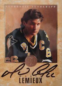 Rare Mario Lemieux Signed Card—1993 Gold Leaf