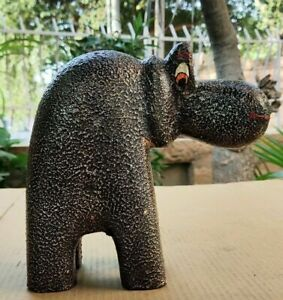 Old Wooden Hippo Hippopotamus Figure Handcrafted Painted Animal Home Decor Art