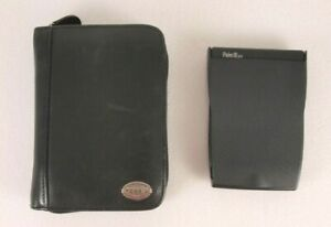 VTG Palm Pilot Palm iiixe Hand Held PDA Device with Leather Fossil Zipper Case