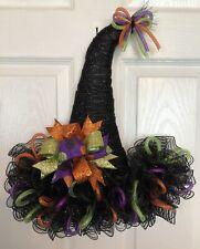 """18"""" x 16"""" Handmade Halloween Mesh Witch Hat Door Hanger/Wreath W/ Bow - Black"""