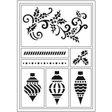 Christmas Stencils Viva Decor Flexible Sticky Stencil Decorations Holly Baubles