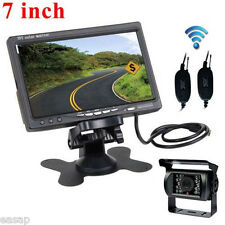 "7"" TFT LCD Monitor Truck Bus RV+Wireless Backup Camera Kit NightVision Rear View"