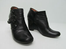 Miz Mooz Silas Black Leather Wedge Booties Buttons Size Women's 6