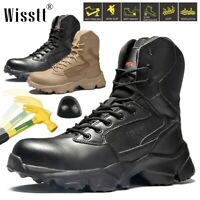 Men's Military Steel Toe Work Boots Safety Ankle Hiking Motorcycle Combat Boots