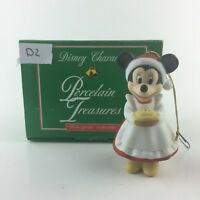 D2 VINTAGE DISNEY MINNIE MOUSE PORCELAIN TREASURES GROLIER CHRISTMAS ORNAMENT