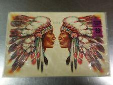 NOS Vintage Meyercord Decorator Decals, (2) Native American Indian Chief Profile