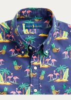 Polo Ralph Lauren Men's Shirt SS Classic Oxford Tropical Flamingo  L or XL