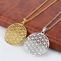 Blume des Lebens Anhänger Halskette Silberkette Heilige Geometrie Schm W7R6
